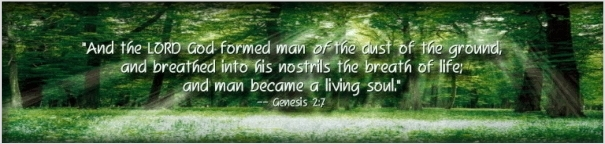 "And the LORD God formed man of the dust of the ground, and breathed into his nostrils the breath of life; and man became a living soul."" -- Gen 2:7"